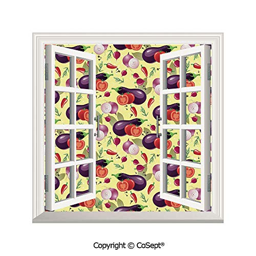 SCOXIXI Window Wall Sticker,Eggplant Tomato Relish Onion Going Green Eating Organic Tasty Preserve Nature Decorative,3D Window View Decal Home Decor Deco Art (25.86x22.63 inch)