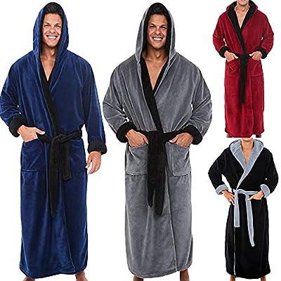 Wensy Mens Fleece Solid Soft Spa Colored Robe, Long Hooded Bathrobe