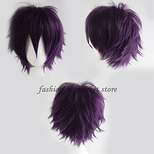 Short Straight Fluffy Anime Cosplay Full Wig Oblique Fringe Costume Party for Men / Women Dark Purple - Fai Tsubasa Cosplay Costume