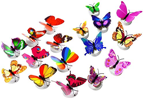Kids Room Ceiling Light - Glow in the Dark LED Butterfly Decorations 15 PCS