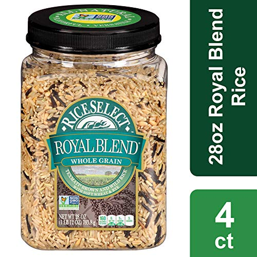 (Rice Select Royal Blend, Whole Grain Texmati Brown & Wild Rice with Soft Wheat & Rye Berries, 28 oz Jars (Pack of 4))