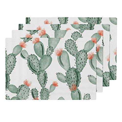 Roostery Cactus 4pc Organic Cotton Sateen Cloth Placemat Set - Cacti Watercolor Cactus Paddle Cactus by Ivieclothco (Set of 4) 13 x 19in