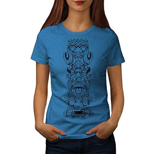 wellcoda Spiritual Totem Fashion Womens T-Shirt, Bali Graphic Design Print Tee Royal Blue M