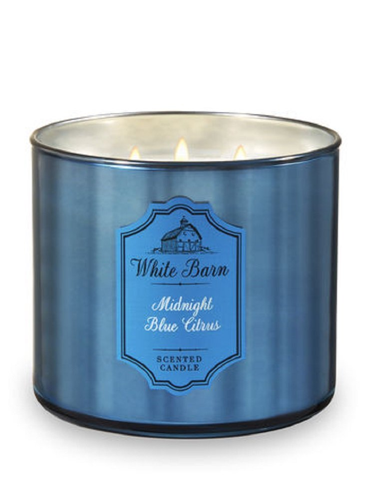 Bath and Body Works White Barn 3 Wick Scented Candle Midnight Blue Citrus with Essential Oils and Marble Lid 14.5 Ounce