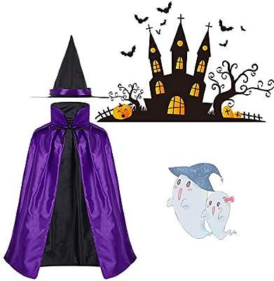 Disfraz de Halloween para niños, disfraz de bruja mágica con capa ...