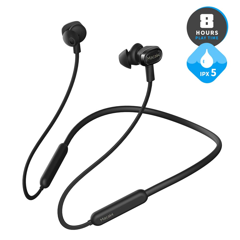 Bluetooth Headphones,MacaW Wireless Neckband Headset with Magnetic Earbuds, Sports Sweatproof Noise Cancelling Stereo Earphones with Mic 8 hrs Playtime,aptX Audio,Bluetooth 4.1
