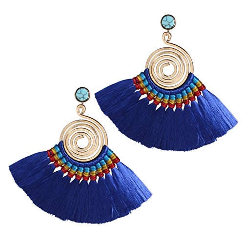 Bonnie Spiral Bohemian Tassel Drop Dangle Earrings Hand Woven On Brass Hoop (Cobalt-blue)
