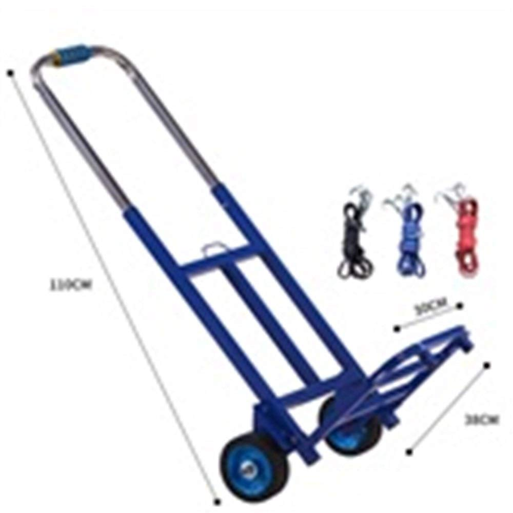 JIANPING Trolley Home Folding Portable Mute Trolley Car Shopping Cart Luggage Cart Truck Trailer Rubber Single Wheel to Send Elastic Rope Shopping Trolley (Color : Blue)