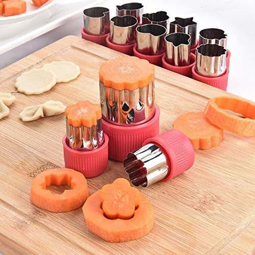 12-Piece Set Mini Stainless Steel Cutter Biscuit Vegetable Fruit Cutter Shape Cute Graphic Mold Children Baking tool Sandwich Cutter(Purple)