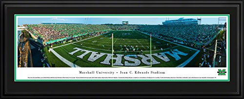 (Marshall University Football - End Zone - Blakeway Panoramas College Sports Posters with Deluxe Frame)