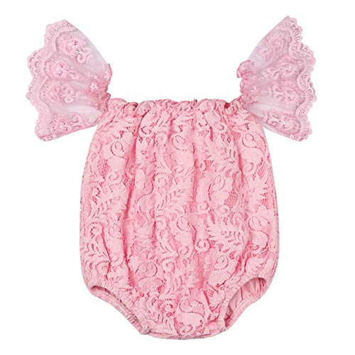 Baby Girl Lace Off-Shoulder Outfits Infant Birthday Romper Ruffles Sleeve Bodysuit Clothes (Lace-Pink, 12-18 Months) (Lace Romper Baby Pink)