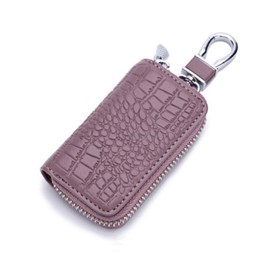 Unisex Genuine Leather Key Wallet Crocodile Pattern Car Key Bag Zipped Key Pouch Holder for Women Men