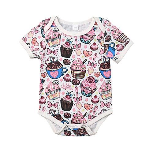 Genlei Newborn Baby Girls Short Sleeve Cake Cupcake Romper Sweet Bodysuit Cute Jumpsuit 3-24M (3-6 Months)