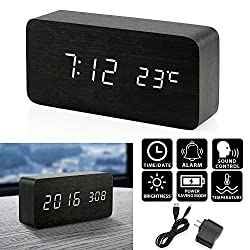 Oct17 Wooden Digital Alarm Clock, Wood Fashion Multi-function LED Alarm Clock with USB Power Supply, Voice Control, Timer, Thermometer - Black