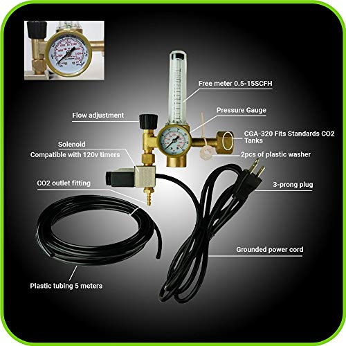 Hydroponics (Co2) Regulator Emitter System with Solenoid Valve Accurate and Easy to Adjust Flow Meter Made of Brass - Shorten up and Double Your Time for Harvesting - Not for (Hydroponic Systems Accessories)