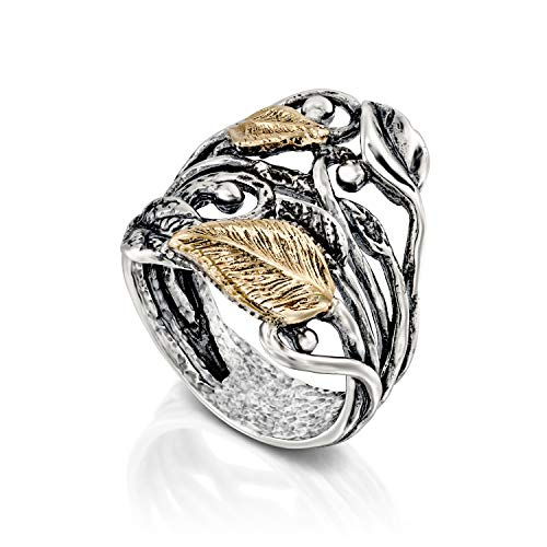 Paz Creations 925 Sterling Silver and 14K Gold Leaf Ring (6) -