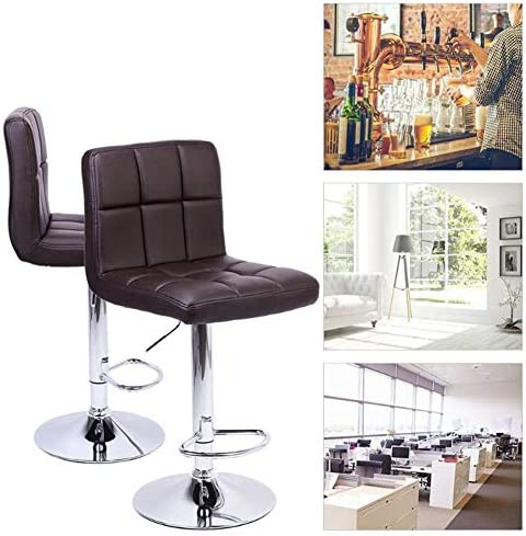 2Pcs Bar Chairs Modern PU Cuir Chaise Dossier Barre Ableable Chaises Tabourets Barre Levage Gaz Rotation Café Bureau