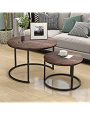 HOJINLINERO Industrial Nesting Coffee Table, Set of 2 End Tables for Living Room, Stacking Side Tables, Sturdy and Easy Assembly, Wood Look Accent Furniture with Metal Frame