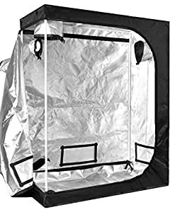 """iPower 48""""x24""""x60"""" 2'x4' Hydroponic Mylar Grow Tent with Floor Tray for Grow Light and Indoor Plant Growing"""