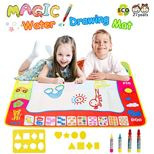 Magic Water Doodle Mats Water Drawing Mat Large 32x24in Painting Pad With 4 Pens 8 Molds Learning Educational Toddler Toys Toddler Gifts for Girls Boys Age 2 3 4 5+ (Educational Pad)