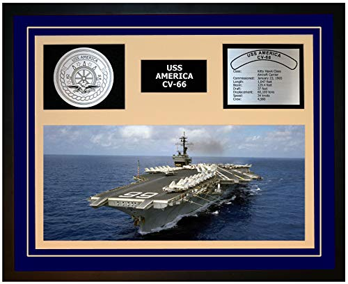 Navy Emporium USS America CV 66 Framed Navy Ship Display Blue
