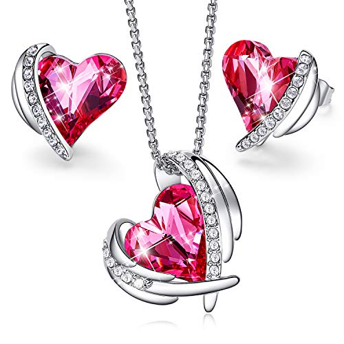 CDE Jewelry Set for Women Girls Pink Angel 18K White Gold Plated Embellished with Crystals from Swarovski Pendant Necklace and Earrings Heart Shape for Mom Gift for Mothers Day