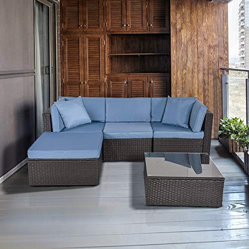 Feelway 5 Piece Patio Sofa Set PE Rattan Wicker Cushioned Outdoor Sectional Conversation Set Patio Furniture W/Pillows Cushions Metal (5 PCS)