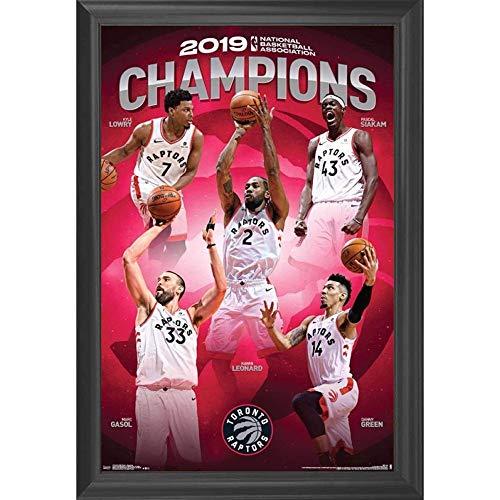 Toronto Raptors NBA Basketball Champions Wall Art Decor Framed Print | 24x36 Premium (Canvas/Painting Like) Textured Poster | 2019 Championship Team | Raptor Fan Jersey Gifts for Guys & Girls Bedroom (2019 Nba Jersey Christmas)