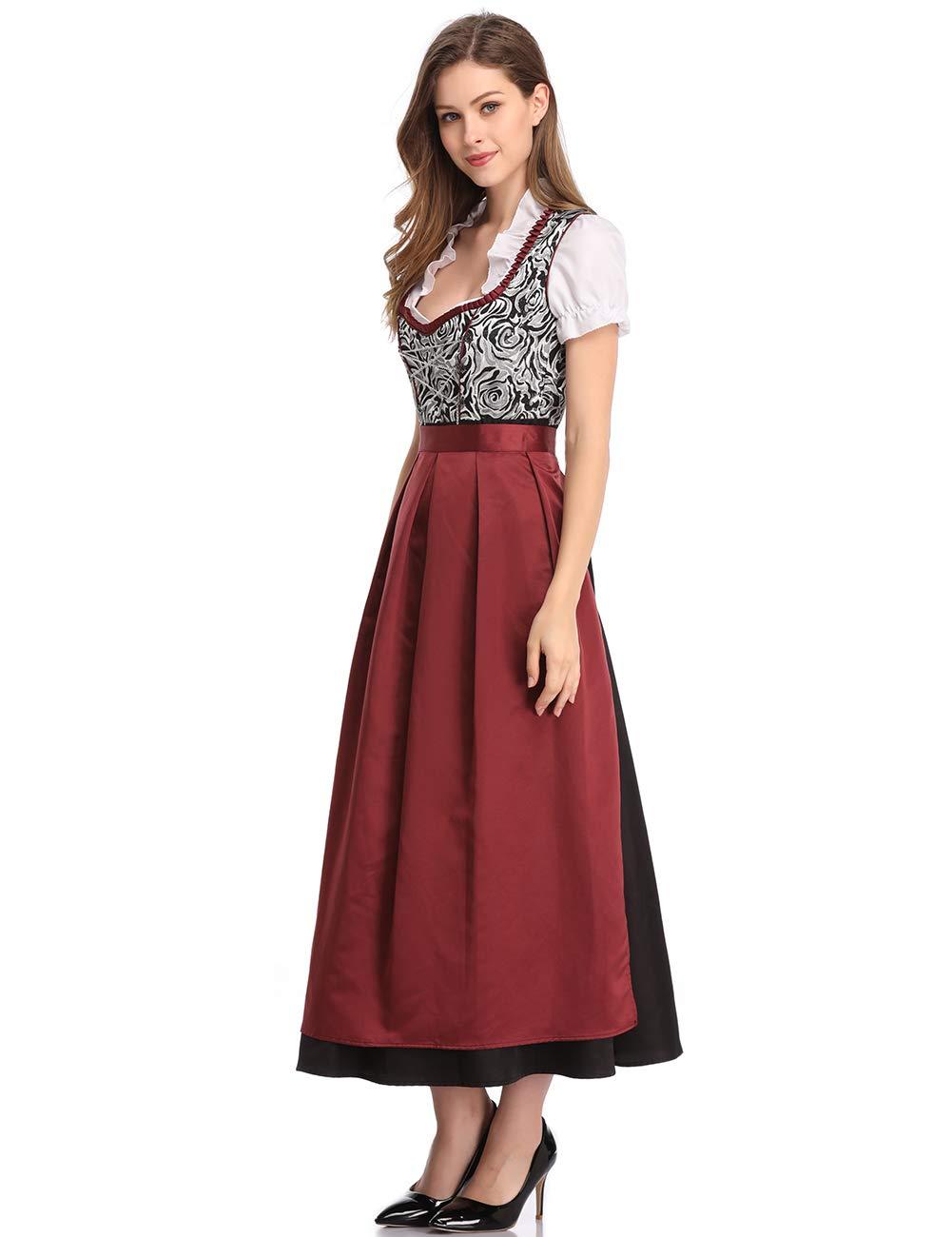 Clearlove Women Oktoberfest Costume Beer Festival Halloween Dirndl Fancy Long Dress Plus Size (M, Brown-1)