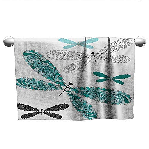 alisoso Dragonfly,Dish Towels Ornamental Dragonfly Figures with Lace and Damask Effects Artsy Image Hotel Pool Towels Teal Turquoise Black W 10