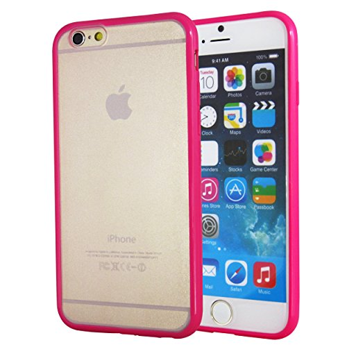 TOTALLEE Frostback Hybrid iPhone 6 (4.7 inch) Scratch Resistant Matte Clear Hard Back with Bumper (Hot Pink)