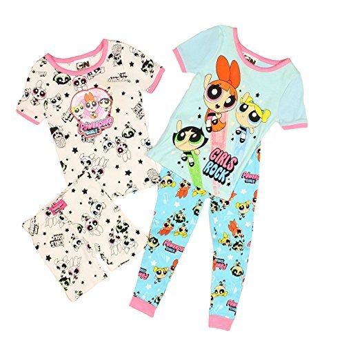 The Powerpuff Girls Little Girls 4 pc Cotton Pajama Set (4T)