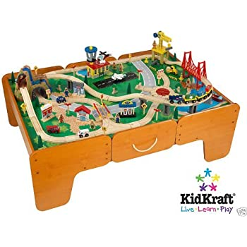 Exceptional Kidkraft Limited Edition Waterfall Mountain Train Table And Train Set  W/drawers