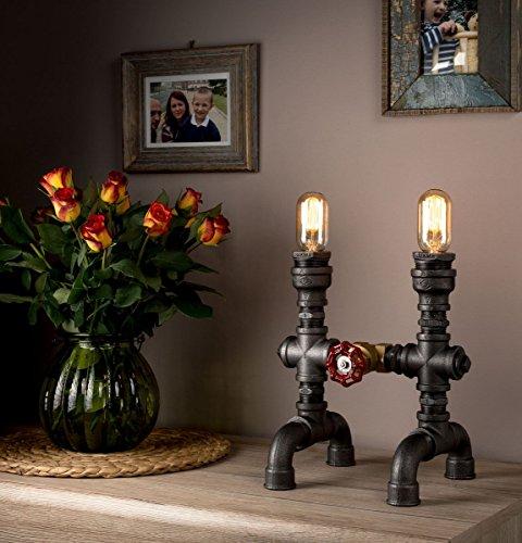 Steampunk-Lampe mit industriellem Glühlampenrohr - als Tischlampe und Steampunk-Möbelstück verwendbar - LUXMA