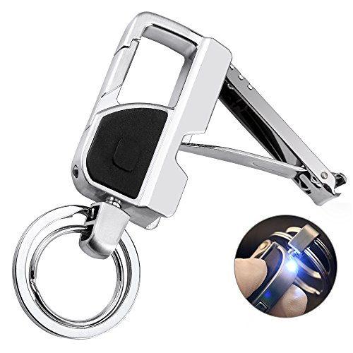 Jobon Keychain Nail Clipper Flashlight with a Bright LED Light and 2 Keyrings for Men, Women, Zinc Alloy, Perfect Gift Ideals by Jobon