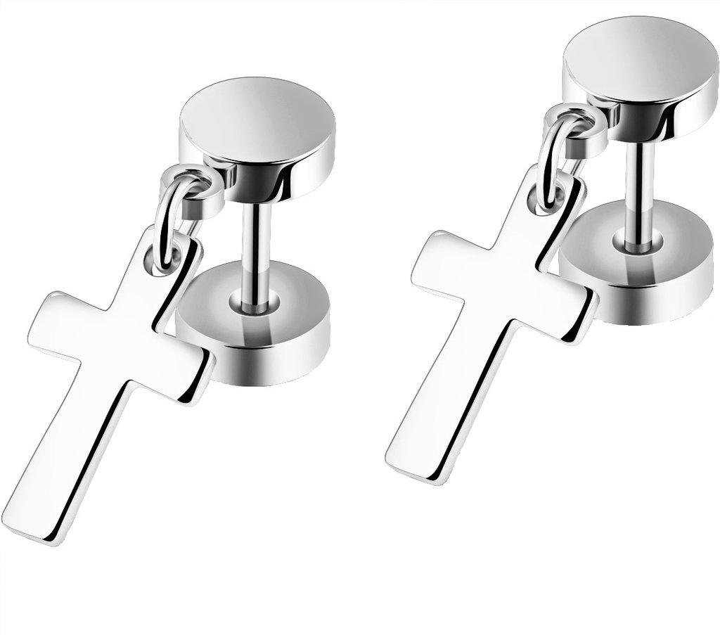 3Aries Golden/Black/Silvery Stainless Steel Eearring Fashion Cool Dumbbell w/ Cross Pendant Mens/Womens Stud Earrings EGE-344-H