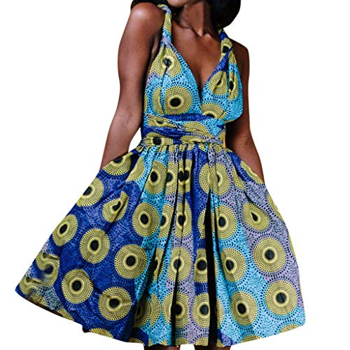 Witspace Women Summer African Printed Elegant Party Sleeveless Wear More Straps Dress