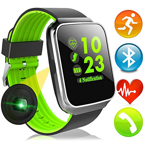 Sport Fitness Tracker Smart Watch with Heart Rate Blood Pressure Monitor for Men Women Color Screen Outdoor Smartband Calories Pedometer Timer Music Player Sync Phone Calls SMS for Gifts (Green)