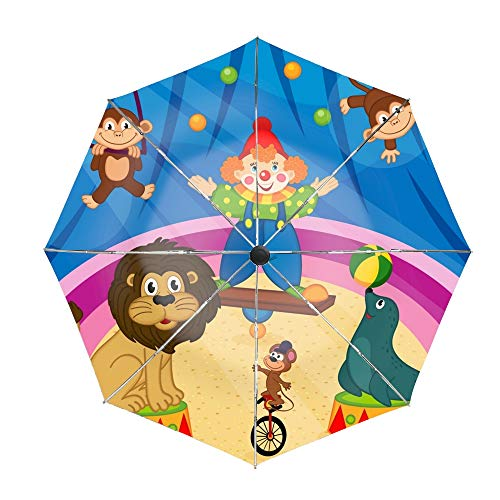 - Travel Umbrella, 8 Ribs Finest Windproof Arena In Circus With Animal And Clown Umbrella with Teflon Coating, Auto Open Close and Upgraded Comfort Handle