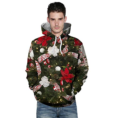 BHYDRY Lover Sweatshirt Casual Autumn Winter Christmas Printing Long Sleeve Hoodies Green