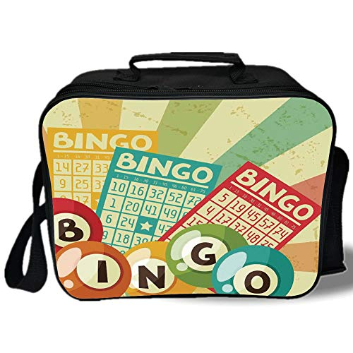 Insulated Lunch Bag,Vintage Decor,Bingo Game with Ball and Cards Pop Art Stylized Lottery Hobby Celebration Theme,Multi,for Work/School/Picnic, Grey -