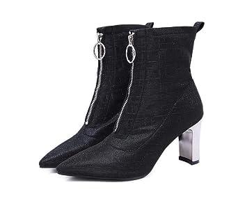 2018 Botines De Tobillo Mujeres Puntiagudas Toe Lentejuelas Cremallera Vestido Botas 8Cm Grueso Talón OL Zapatos