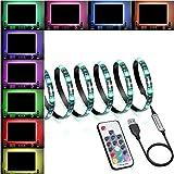 LED Strip Lights 60 LED Changing Color Strip Kit,USB Powered 5V SMD 5050 Flexible Waterproof TV Back light with 17 Keys Remote Control for TV Background Lighting