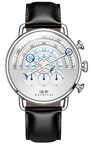 tz Chronograph Sport Watches for Men White Dial Leather Band (Black) ()