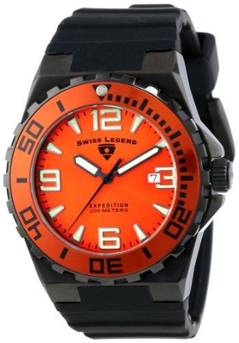 Mens Expedition Black Dial (Swiss Legend Men's 10008-BB-06-OB Expedition Orange Dial Black Silicone Watch)