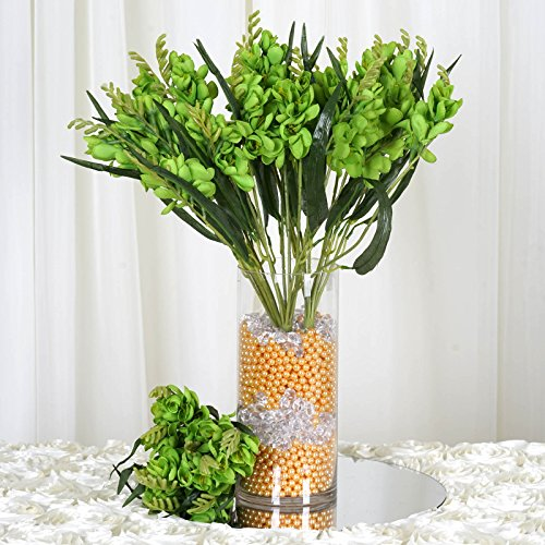 BalsaCircle 216 Lime Green Silk Freesia Flowers - 4 Bushes - Artificial Flowers Wedding Party Centerpieces Arrangements Bouquets Supplies ()