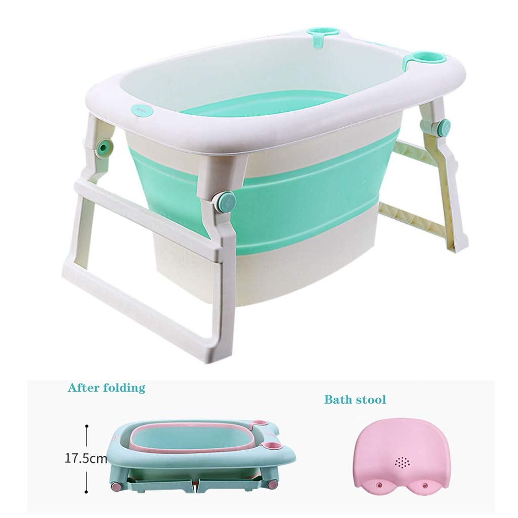 QBYLYG Collapsible Bathing Tub Non-Slip Portable Folding Bath Tub Foldable Shower Basin Collapsible Bathtub Baby Shower Basin with Double Drain for Kids (Color : Pink) by QBYLYG