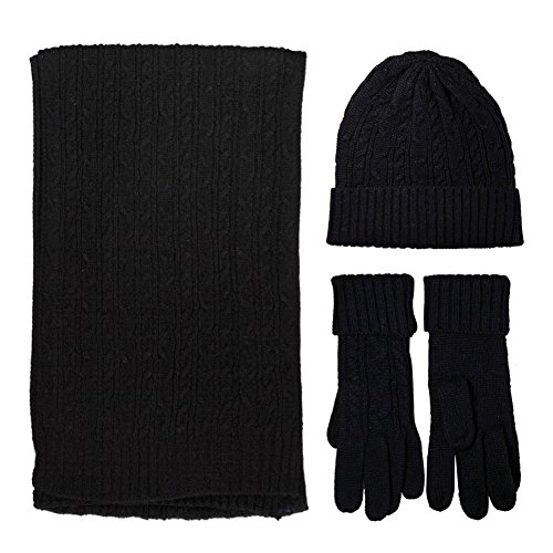 Knit Scarf/Hat/Gloves Set, Soft Warm Beanie. 3 in 1 Unisex Cable Knit Winter Cold Weather Gift for your famlies (Black) (Set Mens Gloves And Hat)