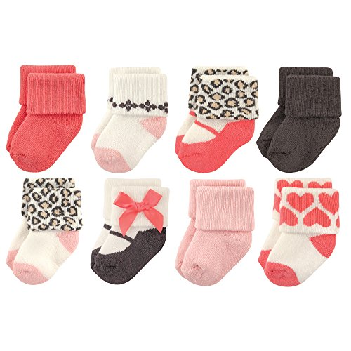 (Luvable Friends Baby 8 Pack Newborn Socks, Leopard, 0-6)