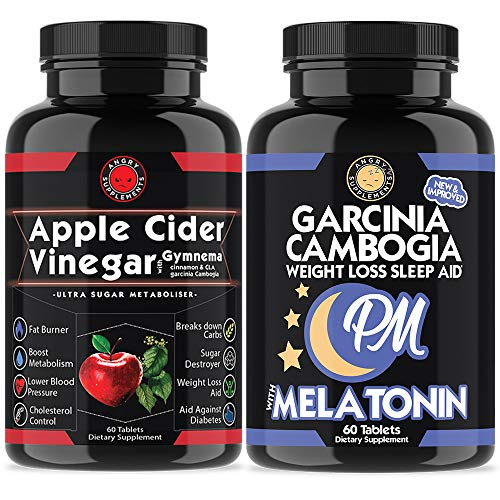 Apple Cider Vinegar Pills for Weight Loss and Garcinia Cambogia PM Sleep Aid, Vegetarian Tablets, All-Natural Detox & Cleanse, Day and Night Support Bundle (Apple Cider Vinegar Diet With Garcinia Cambogia)
